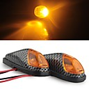 Buy Carbon Motorcycle Yellow High Power LED Turn Signal Indicator Light DC 12V (2 Pcs)