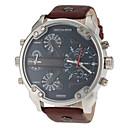 Herren-militärischen Stil schwarzen Kasten khaki Lederband Quarz-Armbanduhr