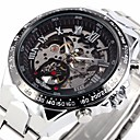 Men's Auto-Mechanical Fashion Skeleton Silver Steel Band Wrist Watch