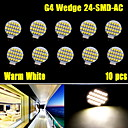 10x Warm White 3500K High Bright G4 24 SMD Reading Marine Boat RV LED Light Bulb