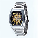 Buy Men's Business Hollow Full Automatic Rectangle Dial Stainless Steel Band Machine Analog Wrist Watch(Assorted Color) Cool Watch Unique