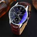 Buy YAZOLE® Luxury Brand Fashion Faux Leather Blue Ray Glass Men Watch 2015 Quartz Analog Business Wrist Watches montre homme Cool Unique