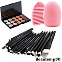 20pcs makeup set Professional/Full Coverage Powder Foundation/makeup brush set+15Color Concealer+Brush Cleaning Tool
