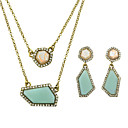 Buy Costume Beautiful Blue Imitation Gemstone Necklace Earrings Jewelry Set