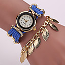 Buy Women's Fashion Watch Bracelet Quartz Imitation Diamond PU Band Vintage Sparkle Leaves Flower Black White Blue Red Brown Brand