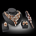 Buy Lucky Doll 18K Gold Plated Imitation Pearl Crystal Rhinestone Necklace & Earrings Bracelet Ring Party Jewelry Sets