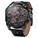 Buy Men's Military Fashion Big Dial Dual Time Zones Leather Band Quartz Watch Wrist Cool Unique