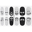 Buy Fashion Expression Style Glitter Silver Black Nail Decal Art Sticker Gel Polish Manicure