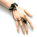 Buy Lolita Jewelry Gothic Bracelet/Bangle Black Accessories Bracelet / Ring Lace Women Satin Alloy
