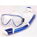 Buy Diving Masks Packages Snorkels Swim Mask Goggle Snorkel Set Dry Top / Snorkeling Swimming PVC Glass silicone Red Blue