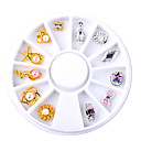 Buy 12pcs/Box Gold Silver Bow Flowers Design Alloy Nail Decoration Wheel 3D Charm Jewelry Accessories