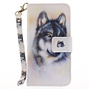 Buy Apple iPhone 7 Plus 6S 6 SE 5S 5 Case Cover Wolf Pattern Painted Card Stent Wallet PU Skin Material Phone