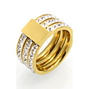 Buy Fashion 3 Row Cubic Zirconia 10mm Width Stainless Steel Rings Women 18K Gold Plated Jewelry