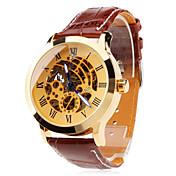 남성 손목 시계 기계식 시계 중공 판화 오토메틱 셀프-윈딩 PU 밴드 브라운