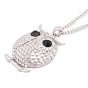 Moda Zircon de la aleación del buho del patrón de collar (plata)