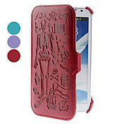 caja de cuero de la PU del patrón del cráneo para Samsung Galaxy Note N7100 2