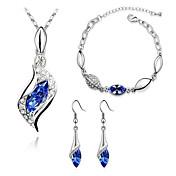 Mujer Juego de Joyas Pendientes colgantes Collares con colgantes Brazalete Cristal La imitación de diamante Diseño Básico Moda joyería de