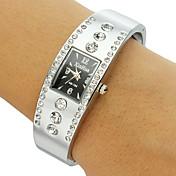 아가씨들 패션 시계 팔찌 시계 모조 다이아몬드 석영 밴드 스파클 뱅글 실버