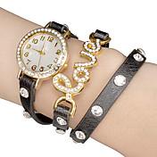 여자의 백색 다이얼 LOVE PU 밴드 석영 아날로그 손목 시계