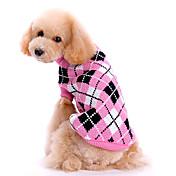 개 스웨터 핑크 강아지 의류 겨울 / 모든계절/가을 격자 무늬 / 체크 귀여운 / 따뜻함 유지