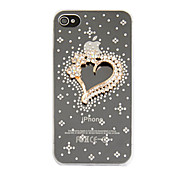 Zircon Matel Heart Ornament Transparent Back Case for iPhone 4/4S