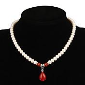 Mujer Collar con perlas Rubí Gota Perla joyería de disfraz Joyas Para