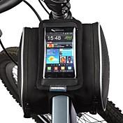 Bolsa para Bicicleta 1.8LBolsa para Cuadro de Bici Bolso del teléfono celular A prueba de polvo Pantalla táctil Bolsa para BicicletaCuero