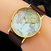 Mujer Reloj de Moda Reloj de Pulsera Cuarzo Mapa del Mundo Patrón PU Banda Negro Blanco Marrón