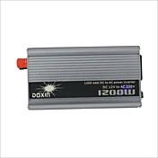 Carking ™ universal de aleación de zinc 1200W DC 12V a AC 220V Power Inverter con encendedor del coche - Plata