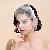 Velos de Boda 1 capa Corto o Blusher Corte de borde 10-20cm Tul Blanco Marfil Corte A, evasé, princesa, recto, sirena