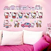 doudouwo® 벽 스티커 벽 데칼, 만화, 사랑스러운 고양이 PVC 벽 스티커