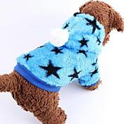 개 코트 블루 / 핑크 강아지 의류 겨울 별