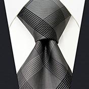 남자의 비즈니스 실크 회색 체크 무늬 넥타이
