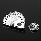 포커 카드 스페이드 로얄 스트레이트 플러시은 흑인 남성의 옷깃 핀 엠블럼 배지
