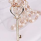 여성의 작은 다이아몬드 왕관 키 진주 사랑 목걸이