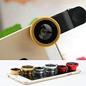 3 en 1 ojo de pez y macro 0.67X y gran angular con tapa de la lente y la bolsa para el iphone 4 / 4s / 5 / 5s / 6/6 más