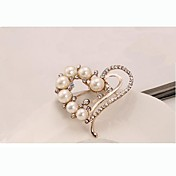 europeo estilo moda Rhinestone de la perla del corazón broche