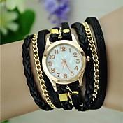 Mujer Reloj de Moda Reloj Pulsera Cuarzo cuerda trenzada PU Banda Cosecha Bohemio Negro Blanco Azul Rojo Marrón Verde Rosa MoradoMarrón