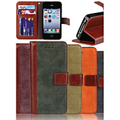 Genuine Matte Nubuck Cowhide PU Leather Flip Cover Wallet Card Slot Case with Stand for iPhone 4/4S
