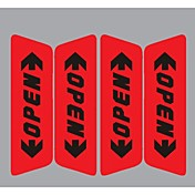 pegatina puerta del coche reflexivo retail palabras abiertas advertencia de seguridad etiqueta engomada del coche estilo 2 colores en la