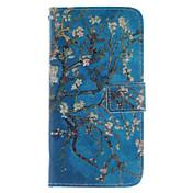 소니 엑스 페리아 Z3에 대한 카드 슬롯과 살구 꽃 디자인 PU 가죽 스탠드 케이스