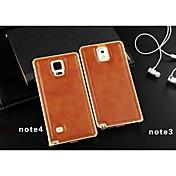 용 Samsung Galaxy Note 도금 케이스 뒷면 커버 케이스 단색 인조 가죽 Samsung Note 4 / Note 3