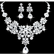 보석 세트 귀걸이 비브장식 목걸이 패션 더블 레이어 스테이트먼트 쥬얼리 모조 다이아몬드 드롭 화이트 용 파티 특별한 때 생일 약혼 1 세트 결혼 선물