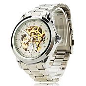 SHENHUA 남성 손목 시계 기계식 시계 중공 판화 오토메틱 셀프-윈딩 스테인레스 스틸 밴드 실버