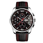 SKMEI Hombre Reloj Deportivo Reloj de Pulsera Japonés Cuarzo Calendario Cronógrafo Resistente al Agua Piel Banda De Lujo Negro