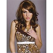 아름다운 스타일과 높은 품질의 갈색 매체 합성 머리 웨이브 가발 확장