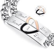 발렌타인 데이 선물 맞춤 보석 애호가 티타늄 스틸 골드 / 블랙 팔찌 (한 쌍)