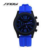 SINOBI Hombre Reloj Deportivo Reloj de Pulsera Cuarzo Resistente al Agua Reloj Deportivo Silicona Banda Azul Rojo Azul