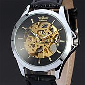 남성 손목 시계 기계식 시계 메카니컬 메뉴얼-윈딩 가죽 밴드 럭셔리 블랙