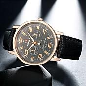 Hombre Reloj de Moda Cuarzo Piel Banda Negro Blanco Negro Marrón